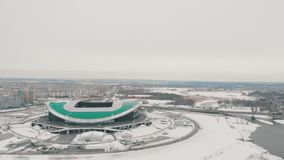 Kazan, Rusia 16-03-2019: Vista aérea del estadio de fútbol de Kazán Edificios modernos en el fondo almacen de metraje de vídeo
