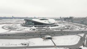 Kazan, Rusia 16-03-2019: Vista aérea del estadio de fútbol de Kazán en invierno metrajes