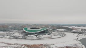 Kazan, Rusia 16-03-2019: Vista panorámica del estadio de fútbol de Kazán almacen de metraje de vídeo