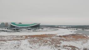 Kazan, Rusia 16-03-2019: Vista panorámica del estadio de los deportes de Kazán almacen de metraje de vídeo
