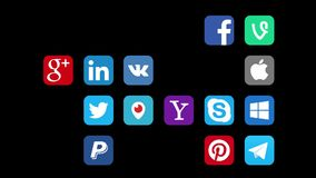 Kazan, Rusland - Augustus 14, 2017: Animatie van populaire sociale media emblemen vector illustratie