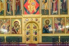 Kazan, Rusland - breng 26 in de war 2017 Iconostasis in Kathedraal van Aankondiging in het Kremlin royalty-vrije stock afbeelding