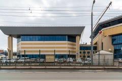 Kazan, Rusland - breng 28 in de war 2017 Sporten complexe mand-Zaal op Spartakovskaya-straat stock foto's