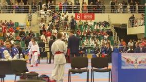 KAZAN, RUSSIA - APRIL 7, 2018:, all-Russian junior karate tournament AK bars Cup. Telephoto shot stock video