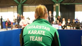 KAZAN, RUSSIA - APRIL 7, 2018:, all-Russian karate tournament AK bars Cup among teenagers. Back of girl participant stock video footage