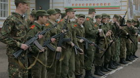 Kazan - Russia, 22 april 2014: Cadets of the Kazan Suvorov military school - soldiers checking weapon stock video footage