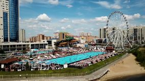 Aerial view of big swimming pool stock video