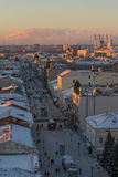 KAZAN, RUSSIA - DECEMBER 11, 2016: center of Kazan - old orthodox church, kremlin, mosque Kull Shariff, Bauman street Royalty Free Stock Image