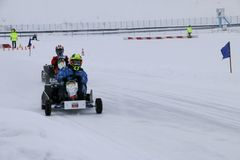 KAZAN, RUSSIA - DECEMBER 23, 2017: Opening of the Winter Season. In the Kazan Ring Canyon - Free open auto show - winter carting on the snow track Royalty Free Stock Image