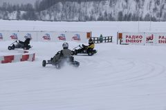 KAZAN, RUSSIA - DECEMBER 23, 2017: Opening of the Winter Season. In the Kazan Ring Canyon - Free open auto show - winter carting on the snow track Royalty Free Stock Photos