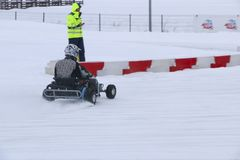 KAZAN, RUSSIA - DECEMBER 23, 2017: Opening of the Winter Season. In the Kazan Ring Canyon - Free open auto show - winter carting on the snow track Stock Photo