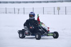 KAZAN, RUSSIA - DECEMBER 23, 2017: Opening of the Winter Season. In the Kazan Ring Canyon - Free open auto show - winter carting on the snow track Royalty Free Stock Photo