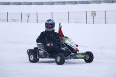 KAZAN, RUSSIA - DECEMBER 23, 2017: Opening of the Winter Season. In the Kazan Ring Canyon - Free open auto show - winter carting on the snow track Stock Image