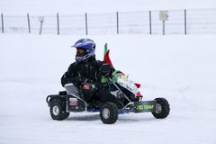 KAZAN, RUSSIA - DECEMBER 23, 2017: Opening of the Winter Season. In the Kazan Ring Canyon - Free open auto show - winter carting on the snow track Stock Photography