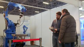 KAZAN, RUSSIA, 9 DECEMBER 2016, 15th International Specialised Exhibition. Mechanical Engineering. Metalworking. 10th. International Exhibition. Technowelding stock video footage