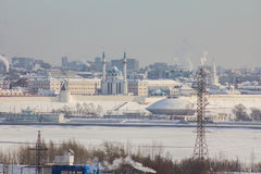 Kazan, Russia, 9 february 2017 - Kazan, Republic of Tatarstan, Russia. View of the Kazan Kremlin from industrial zone of Royalty Free Stock Images