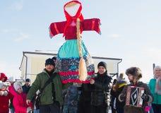 Kazan, Russia - 28 february 2017 - Sviyazhsk Island : Russian ethnic carnival Maslenitsa - The pancake week, Shrovetide Stock Photo