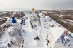 Kazan, Russia, 9 february 2017, Zilant monastery - oldest orthodox place - typical russian landscape, aerial view, wide stock photo