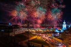 kazan russia Fyrverkeri i Kazan under Victory Day Arkivfoto