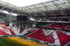 Kazan, Russia, il 16 aprile 2018: supporti delle tribune dell'arena di Kazan dello stadio immagine stock
