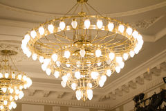 KAZAN, RUSSIA - 2 JANUARY 2017, Kachalov theatre - luxury crystal chandelier on celling stock photo