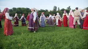 Kazan, Russia, 19 july 2017, Folklore ensemble performs a round dance with a song. Editorial stock video