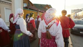 Kazan, Russia, 19 july 2017, Folklore ensemble walks with a song around the city. Editorial stock video