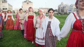 Kazan, Russia, 19 july 2017, Round dance performed by a singing folklore ensemble. Editorial stock video footage