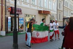 Kazan, Russia, June 20, 2018: fans of the Iranian national football team are having fun. On the streets of the city stock images