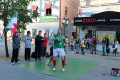 Kazan, Russia, June 20, 2018: fans of the Iranian national football team are having fun. On the streets of the city royalty free stock photography