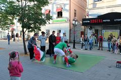 Kazan, Russia, June 20, 2018: fans of the Iranian national football team are having fun. On the streets of the city stock photos