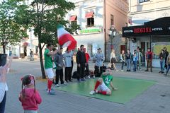 Kazan, Russia, June 20, 2018: fans of the Iranian national football team are having fun. On the streets of the city royalty free stock image