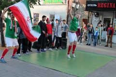 Kazan, Russia, June 20, 2018: fans of the Iranian national football team are having fun. On the streets of the city royalty free stock photo
