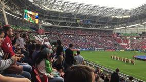 Kazan, Russia - 18 june 2017, FIFA Confederations Cup 2017 - Kazan Arena stadium - football gathering of spectators. Wide angle stock video