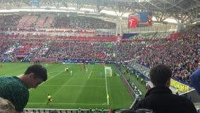 Kazan, Russia - 18 june 2017, FIFA Confederations Cup 2017 - Kazan Arena stadium - goal. Wide angle stock video footage