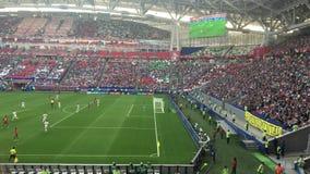 Kazan, Russia - 18 june 2017, FIFA Confederations Cup 2017 - Kazan Arena stadium - the goalkeeper returns the ball. Wide angle stock footage