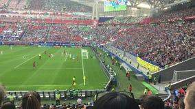 Kazan, Russia - 18 june 2017, FIFA Confederations Cup 2017 - Kazan Arena stadium - players play football. Wide angle stock video footage