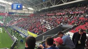 Kazan, Russia - 18 june 2017, FIFA Confederations Cup 2017 - Kazan Arena stadium - Soccer fans. Wide angle stock footage