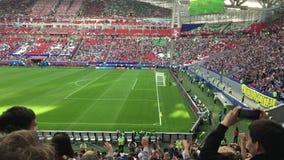 Kazan, Russia - 18 june 2017, FIFA Confederations Cup 2017 - Kazan Arena stadium - wave of football fans spectators. Wide angle stock video footage
