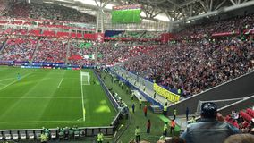 Kazan, Russia - 18 june 2017, FIFA Confederations Cup 2017 - Kazan Arena stadium - wave of soccer fans. Wide angle stock footage