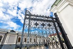 Openwork gates from forged metal stock photography