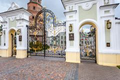 Openwork gates of the residence of the President of the Republic. Kazan, Russia - June 10, 2018: Openwork gates of the residence of the President of the Republic royalty free stock photography