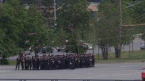 KAZAN, RUSSIA - 12 june 2017 - Russian police squad near football stadium ready for FIFA championship stock video footage