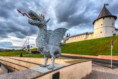 Sculpture of mythical serpent Zilant, the official symbol of Kazan stock images