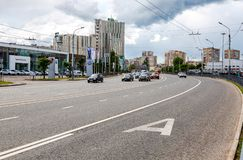 View on one of central street in Kazan city royalty free stock photography