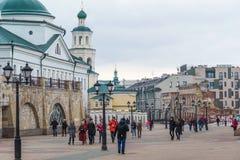 Kazan, Russia - Mar 26.2017. Bauman Street - pedestrian street in historical part of city. Kazan, Russia - Mar 26.2017. Bauman Street - pedestrian street in a Royalty Free Stock Images