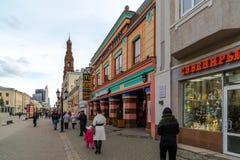 Kazan, Russia - March 27. 2017. Bauman Street - pedestrian street in historical part of city. Kazan, Russia - March 27. 2017. Bauman Street - pedestrian street Royalty Free Stock Photos