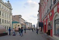 Kazan, Russia - March 26.2017. Bauman Street - pedestrian street in historical part of city. Kazan, Russia - March 26.2017. The Bauman Street - pedestrian street Stock Photos