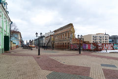 Kazan, Russia - March 25.2017. Bauman Street - pedestrian street in historical part of city Royalty Free Stock Photography