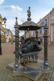 Kazan, Russia - March 27. 2017. Monument to cat in Bauman Street. Kazan, Russia - March 27. 2017. Monument to a cat in Bauman Street Royalty Free Stock Image